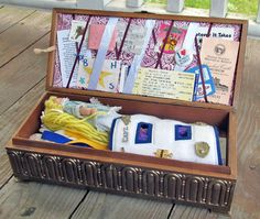 Cute DIY Memory Box has a French Memo board to display tickets and momentos.