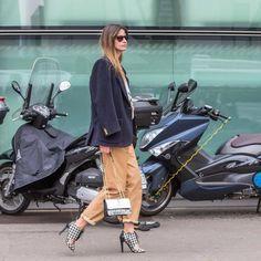 "Racz Clara on Instagram: ""Before @armani #emporioarmani wearing @manokhi.leatherwear pants, @patriziapepe bag, @pollini shoes #MFW #StreetStyle pic by @good.park """