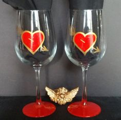 Valentine Heart and Love hand painted wine by GlassesbyJoAnne, $36.00