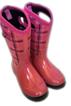 fb142f4a657bbb Bogs Girls Youth size 4 EU 37 Winter Plaid Waterproof Boots Shoes Slip On  Snow