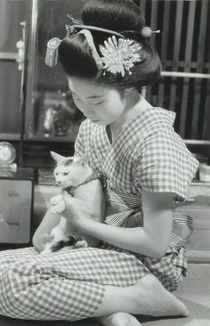 Especially in summer of Geisha usual time, Photography by Kiichi Asano I Love Cats, Crazy Cats, Cute Cats, Crazy Cat Lady, Vintage Pictures, Old Pictures, Old Photos, Monica Crema, Vintage Japanese