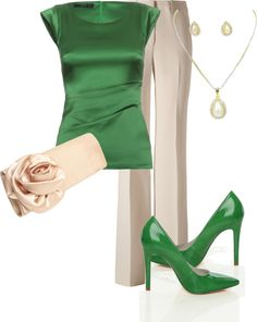 "Green, and beautiful beige!!! I like this together. This would be a great ""date night"" ensemble!!!"