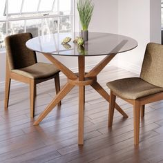 Magna Round Glass Dining Table - The Magna Round Glass Table puts a practical, versatile spin on Scandinavian design. Glass Dining Room Sets, Glass Round Dining Table, Glass Dining Room Table, Solid Wood Dining Table, Dining Tables, Room Wall Decor, Dining Furniture, Home Decor, Langley Street