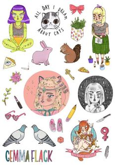 an sticker sheet featuring some special objects, people, and things that give me power 26 stickers for you to cut out yourself printed on high Inspiration Art, Art Inspo, Art Hoe, Kawaii, Collage, Pattern Wallpaper, Sticker Design, Cute Art, Art Drawings