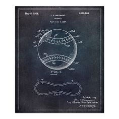 Vintage Blueprints for Famous Inventions. Baseball 1928
