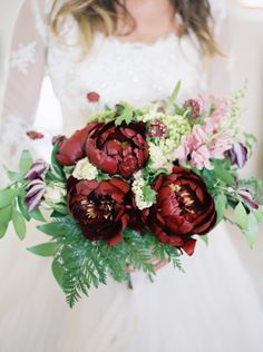Autumn-Inspired Wedding Bouquet that also would be a perfect palette for a Winter Wedding! | Pinned by @eastsix