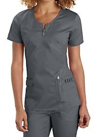 Beyond Scrubs Mia Zip Front Scrub Tops Main Image Vet Scrubs, Dental Scrubs, Medical Scrubs, Scrubs Outfit, Scrubs Uniform, Medical Uniforms, Work Uniforms, Healthcare Uniforms, Nursing Uniforms