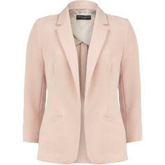 Blush longline blazer ($79) ❤ liked on Polyvore