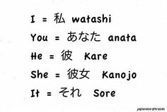 I, you, he, she, it; Japanese