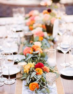 21 Incredibly Gorgeous Floral Runner Ideas Guests Will Flip Over - Wilkie Blog! - Bold floral table runner