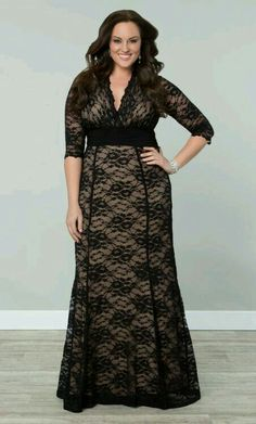 b233ccdaf23 Plus Size Screen Siren Lace Gown Black Nude Curvalicious Clothes