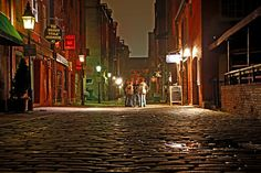 Wharf Street at night (oddly quiet) in the Old Port - Portland, Maine. Visit Maine, Visit Usa, Places Ive Been, Places To Visit, Peaks Island, Casco Bay, Old Port, Portland Maine, Cinque Terre