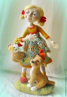 """Купить Авторская кукла из шерсти """"Берег детства"""" - желтый, кукла ручной работы, лето"""