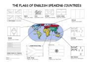 English worksheet: Colouring Flags of English Speaking Countries