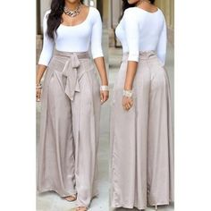 Scoop Neck White Top and Grey Loose Pants Mode Outfits, Casual Outfits, Fashion Outfits, Womens Fashion, Casual Wear, Two Piece Pants Set, Vetement Fashion, Work Attire, Mode Style