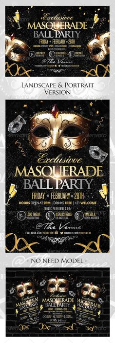 Masquerade Ball Flyer Landscape / Portrait Version - Clubs & Parties Events