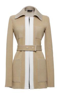 Beige Knit Rib Zip Front Jacket by Calvin Klein Collection - Moda Operandi