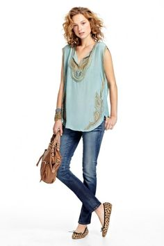 fb7e6b7249a8 easy fitting silk top - embellished with pailettes in an antique gold  finish.  style