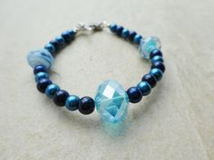 Cosmic Blue Pearl and Crystal Bracelet by MadeInTheFalls on Etsy