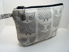 Black Hand Stamped Muslin Owl Cosmetic Travel Makeup Bag. $14.99, via Etsy.