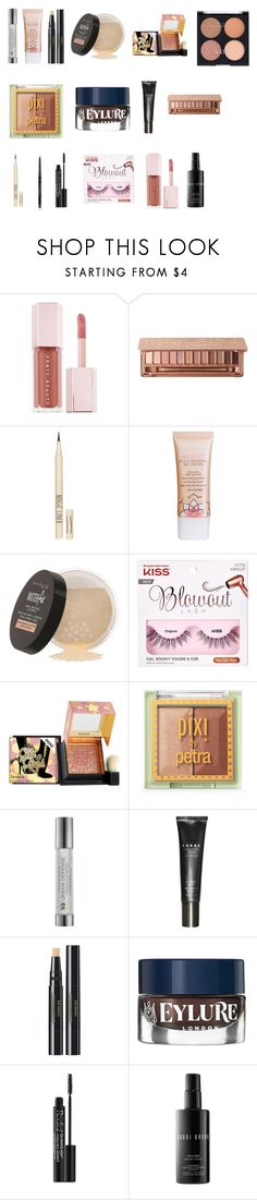 """""""Rose gold sparks"""" by tyronewelle ❤ liked on Polyvore featuring beauty, Urban Decay, Bourjois, Topshop, Maybelline, Natio, Benefit, Pixi, Sensai and eylure"""