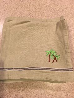 "Cloth Dinner Napkin 17 1/2"" X 19"" Palm Tree Design Green With Stripes Set Of 18"