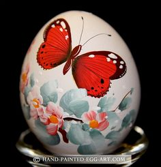 Hand-Painted-Egg-Art. Designs by Margit Jakab. Red Butterfly