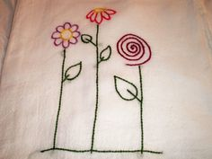 Modern Floral Hand Embroidered Dish Towel on Etsy