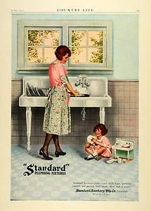 1922 Ad Standard Plumbing Fixtures Kitchen Sink Child Toys Mother Home Decor
