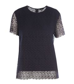 Lace Top by Raoul. Navy lace top with round neck and short sleeves. #Matchesfashion