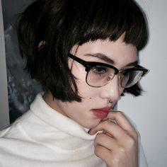 glasses and bobbed hair More