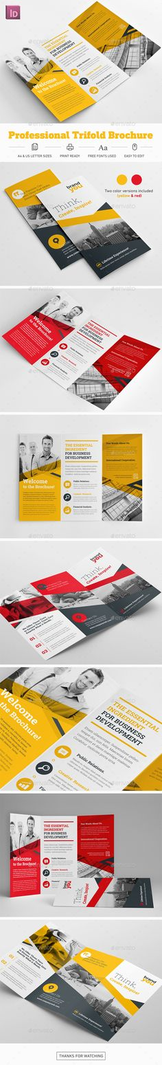 Professional Trifold Brochure by Snowboy Professional Trifold BrochureHighly editable InDesign trifold brochure template. Easy to customize with styles and swatches. Luxury Brochure, Corporate Brochure, Corporate Design, Brochure Design Inspiration, App Design, Print Design, Self Branding, Pose, Calendar Design