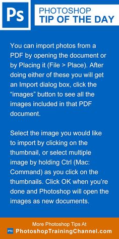 "You can import photos from a PDF by opening the document or by Placing it (File > Place). After doing either of these you will get an Import dialog box, click the ""images"" button to see all the images included in that PDF document.Select the image you would like to import by clicking on the thumbnail, or select multiple image by holding Ctrl (Mac: Command) as you click on the thumbnails. Click OK when you're done and Photoshop will open the images as new documents."