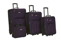 Amazon.com | Rockland Luggage Skate Wheels 4 Piece Luggage Set, Black, One Size | Luggage Sets
