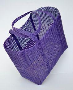 Picnic Woven Guatemalan Bright Purple Plastic Market Basket Strong Resistant Bag…