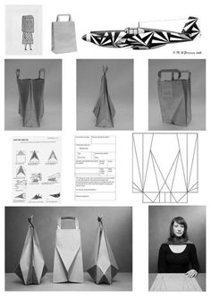 Design process for coming up with a folded origami style paper bag .