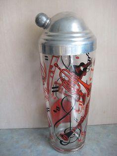 Vintage Hazel Atlas Red Black Musical Instrument Cocktail Shaker w Top 1940 50