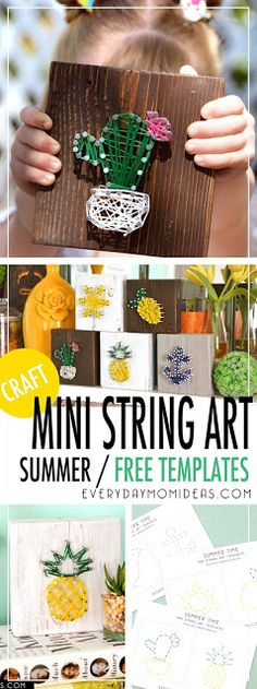 Mini String Art / Free Summer-Time Templates Printable / Part 1 Designs) Mini String Art Templates Perfect For Summer, Six FREE mini template designs to choose from: Pineapple, Blooming Cactus, Ombre Feather, Boat . Girls Night Crafts, Craft Night, Crafts For Girls, Diy For Kids, Kids Crafts, Easy Crafts, Creative Crafts, Arts And Crafts For Kids For Summer, Creative Ideas