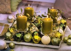 green pillar candles and glass ball ornaments in green shades Christmas Candle Centerpieces, Christmas Candles, Christmas Decorations, Christmas Ornaments, Ball Ornaments, Christmas Crafts, Scented Candles, Pillar Candles, Diy Candles