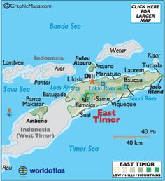 East Timor is a stunning sight (especially from the air) as it's ringed by miles of sandy beaches and a deep bluish-green sea....
