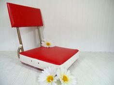 Vintage Stadium Booster Seat Red & White Padded by DivineOrders