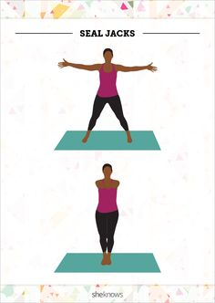 """Seal jacks. Start in a """"star"""" formation with your arms extended wide from your shoulders and your legs positioned wider than shoulder-width apart."""