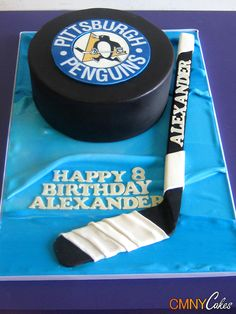 Hockey Stick And Puck Cake Hockey Birthday Cake, Hockey Birthday Parties, Hockey Party, Birthday Ideas, Baseball Party, 5th Birthday, Birthday Cakes, Cake Icing, Fondant Cakes