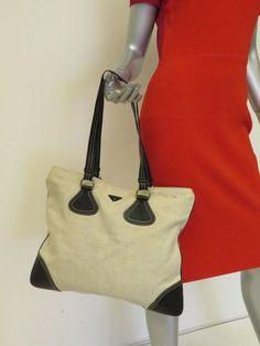 d2aea33f4 Prada Tote Bag Natural Canvas and Black Leather Shoulder Bag@ebay  @pinterest #shoulderbag