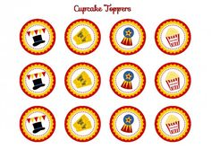 free circus birthday party printable cupcake toppers