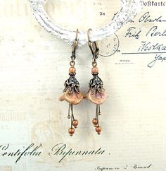 Neo Victorian style flower dangle earrings with Czech lily beads.