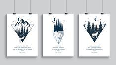 A series of 3x A4 prints of Carl Sagan quotes