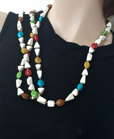 "Vintage Art Deco-Multi Colored beaded necklace -Beautiful vintage 50"" Long beaded rope- by mytimevintage on Etsy"