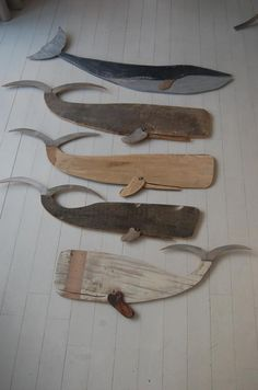 Use the white distressed wood, cedar for mouth and tin snips for fluke.