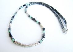 Men's gemstone beaded necklace hematite stone by Bravemenjewelry
